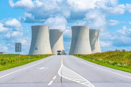 Nuclear power plant and wide asphalt road. Temelin, Czech Republic.