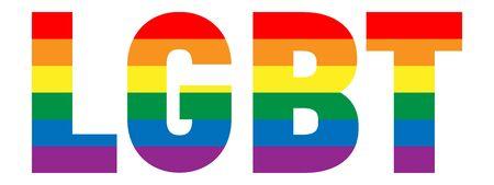 LGBT inscription. Color spectrum banner or flag in the shape of LGBT text. Vector illustration.