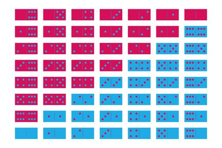 Domino sets of 28 tiles. Two packages in pink and blue. Simple flat vector illustration. Illustration