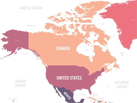 North America map. High detailed political map North American continent with country, ocean and sea names labeling.