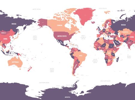 World map - America centered. High detailed political map of World with country, ocean and sea names labeling.