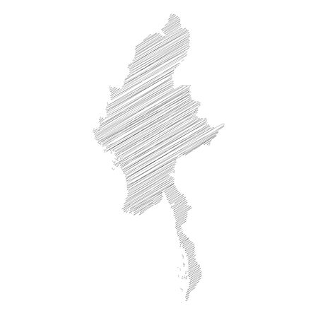 Burma, Myanmar - pencil scribble sketch silhouette map of country area with dropped shadow. Simple flat vector illustration.