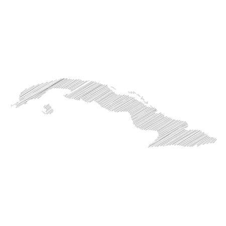 Cuba - pencil scribble sketch silhouette map of country area with dropped shadow. Simple flat vector illustration.