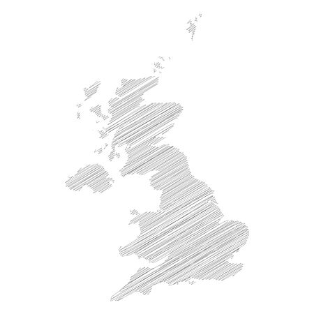 United Kingdom of Great Britain and Northern Ireland, UK - pencil scribble sketch silhouette map of country area with dropped shadow. Simple flat vector illustration.