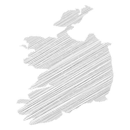 Ireland - pencil scribble sketch silhouette map of country area with dropped shadow. Simple flat vector illustration.