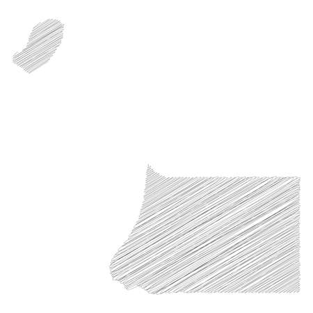 Equatorial Guinea - pencil scribble sketch silhouette map of country area with dropped shadow. Simple flat vector illustration.