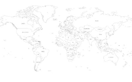 Map of World. Detailed thin black outline political map with country names. Vector map. Ilustracja