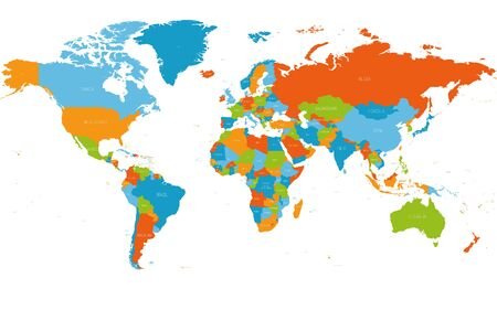 World map. High detailed political map of World with country names labeling. 5 colors scheme vector map on white background.