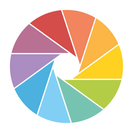 Colorful shutter icon. Photography or video theme. Simple flat vector icon.