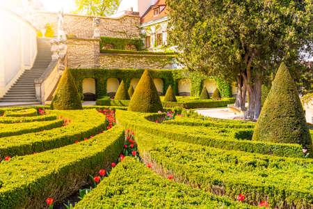Vrtbovska garden - beautiful baroque garden multiple terraced platforms, Lesser Town of Prague, Czech Republic. 스톡 콘텐츠