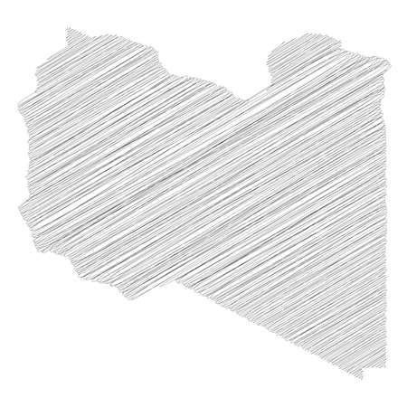 Libya - pencil scribble sketch silhouette map of country area with dropped shadow. Simple flat vector illustration.