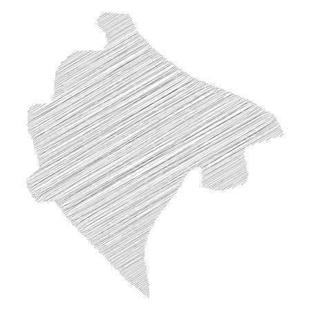 Montenegro - pencil scribble sketch silhouette map of country area with dropped shadow. Simple flat vector illustration.