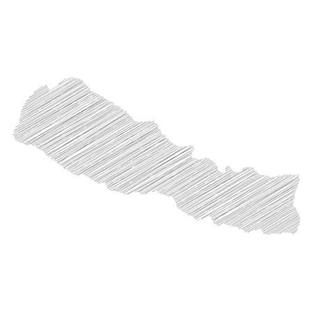 Nepal - pencil scribble sketch silhouette map of country area with dropped shadow. Simple flat vector illustration.