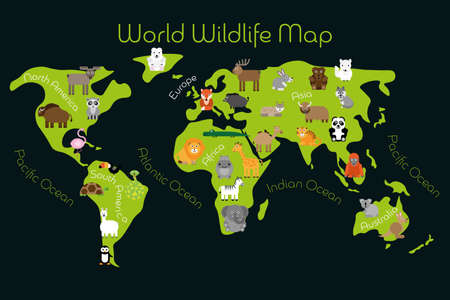 World Wildlife Map - continents with typical fauna. Funny cartoon animals. Children carpet or poster. Vector illustration.