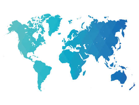 Map of World. Blue low poly gradient of rhombus shapes. Modern vector polygonal design.