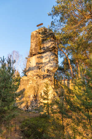 Hlavatice rock lookout point with metal spiral staircase, Bohemian Paradise, Czech: Cesky Raj, Czech Republic.