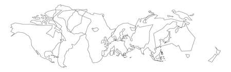 Thin black outlines of World continents. Simple flat vector illustration.