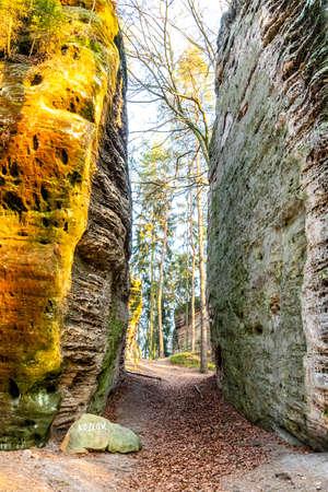 Narrow pass through sandstone rock formation at Chlum - Kozlov Castle Ruins, Bohemian Paradise, Czech Republic.