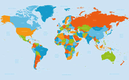 World map. High detailed political map of World with country, ocean and sea names labeling. 5 colors scheme vector map on white background.