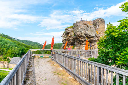 Aggstein Castle ruins above Danube River in Wachau Valley, Austria.