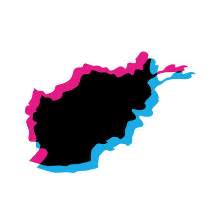 Afghanistan - solid black silhouette map of country area. Simple flat vector illustration with chromatic aberration effect.