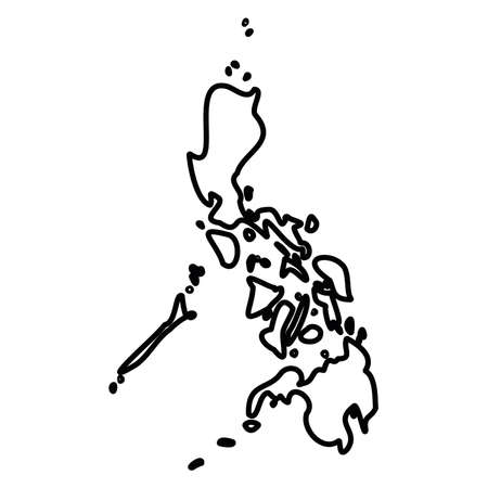 Philippines - solid black outline border map of country area. Simple flat vector illustration.