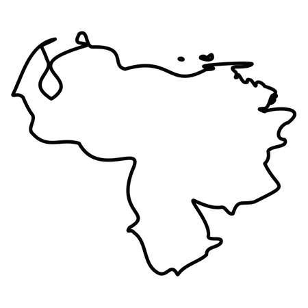 Venezuela - solid black outline border map of country area. Simple flat vector illustration.