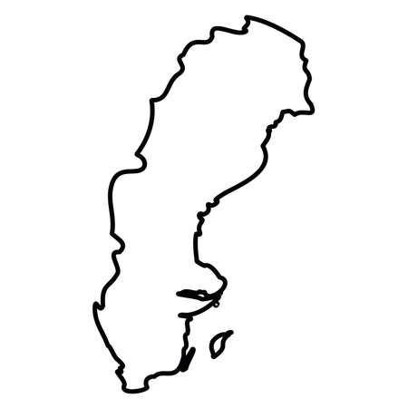 Sweden - solid black outline border map of country area. Simple flat vector illustration.