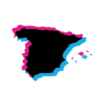 Spain country silhouette with chromatic aberration effect.