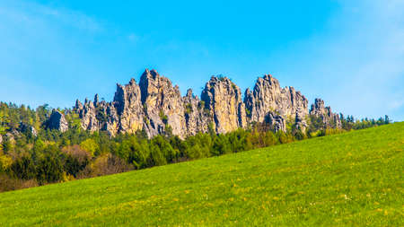 Monumental sandstone ridge of Suche Skaly, aka Dry Rocks, near Mala Skala in Bohemian Paradise, Czech Republic.