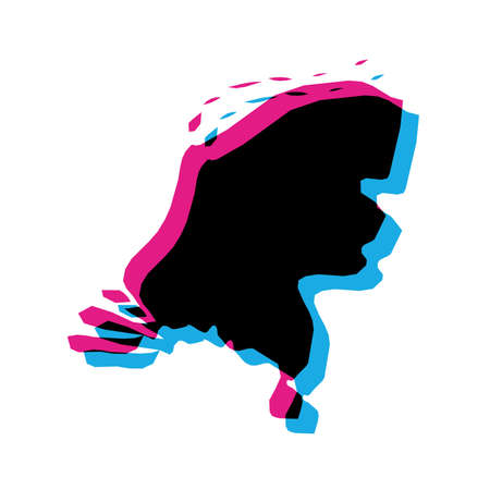 Netherlands, Holland country silhouette with chromatic aberration effect.