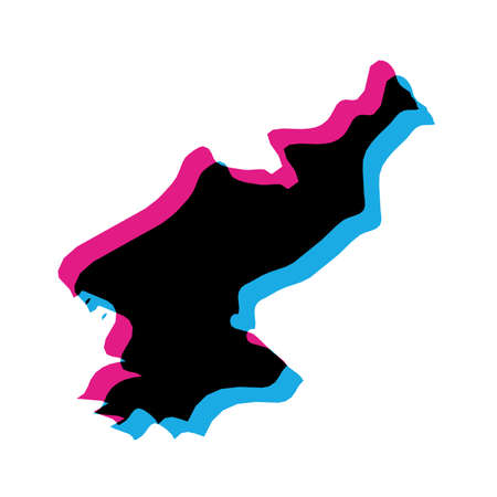 North Korea, Democratic Peoples Republic of Korea, DPRK country silhouette with chromatic aberration effect.