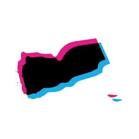 Yemen country silhouette with chromatic aberration effect.