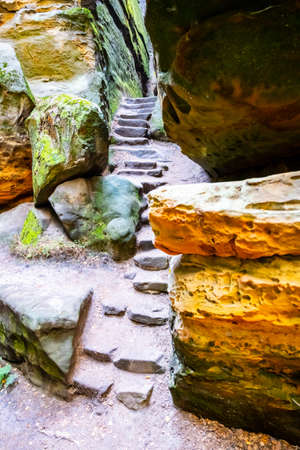 Narrow passage through sandstone gorge in Besedice Rocks, Bohemian Paradise, Czech Republic