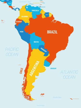 South America map - 4 bright color scheme. High detailed political map South American continent with country, ocean and sea names labeling.