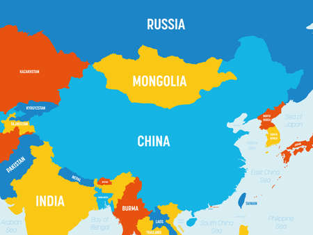 China map - 4 bright color scheme. High detailed political map of China and neighboring countries with country, ocean and sea names labeling. Ilustrace
