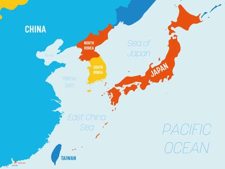 East Asia map - 4 bright color scheme. High detailed political map of eastern region with country, ocean and sea names labeling.
