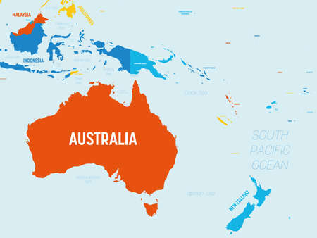 Australia and Oceania map - 4 bright color scheme. High detailed political map of australian and pacific region with country, ocean and sea names labeling.