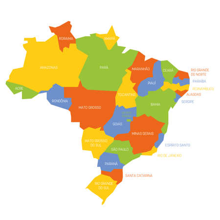 Colorful political map of Brazil. Administrative divisions - states. Simple flat vector map with labels.
