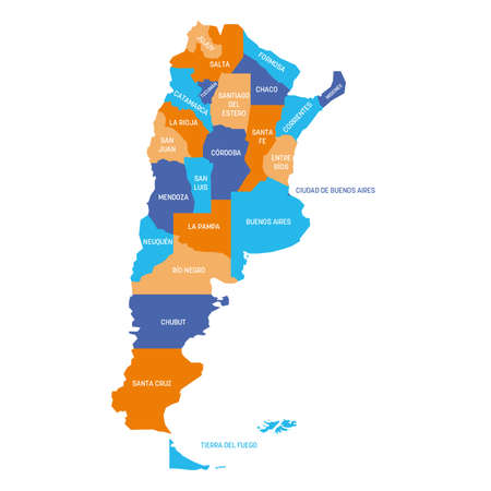 Colorful political map of Argentina. Administrative divisions - provinces. Simple flat vector map with labels.