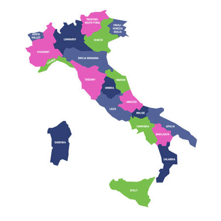 Colorful map of Italy divided into 20 administrative regions. White labels. Simple flat vector illustration.