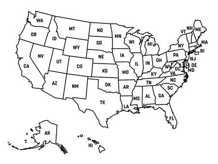 Map of United States of America, USA, with state postal abbreviations. Simple black outline map.