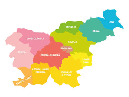 Colorful political map of Slovenia. Administrative divisions - statistical regions. Simple flat vector map with labels.
