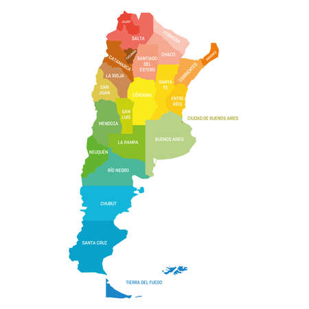 Colorful political map of Argentina. Administrative divisions - provinces. Simple flat vector map with labels. Vettoriali