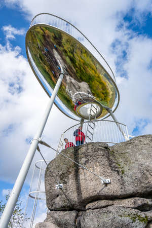TANVALD, CZECH REPUBLIC - OCTOBER 2020: Modern lookout tower on Maly Spicak. Evokes sport bobsled because of near former bobsleigh track. Tanvald, Czech Republic, Editorial