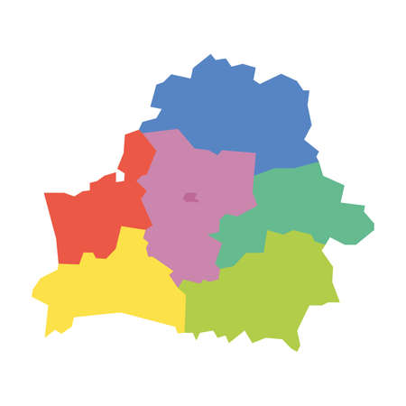 Regions of Belarus. Map of regional country administrative divisions. Colorful vector illustration.