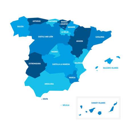 Blue political map of Spain. Administrative divisions - autonomous communities. Simple flat vector map with labels.