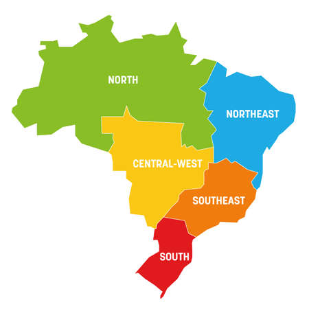 Colorful political map of Brazil. States divide by color into 5 regions . Simple flat vector map with labels. Vektorové ilustrace