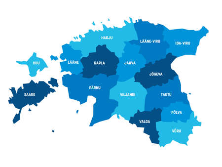 Blue political map of Estonia. Administrative divisions - counties. Simple flat vector map with labels.