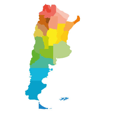 Colorful blank political map of Argentina. Administrative divisions - provinces. Simple flat vector map